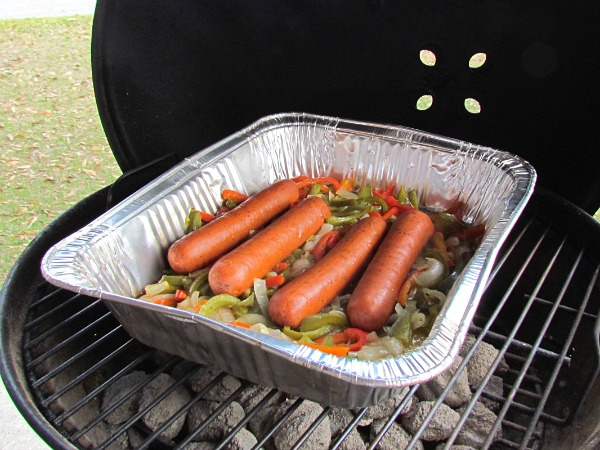 grilled spicy sausage peppers and onions