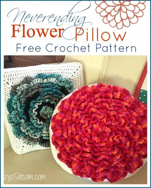neverending crochet flower pillow pattern
