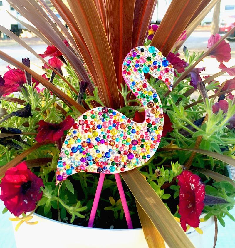 sparkly flamingo plant poke