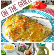 Mexican style omelettes on the grill