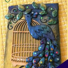 pretty peacock diy journal cover