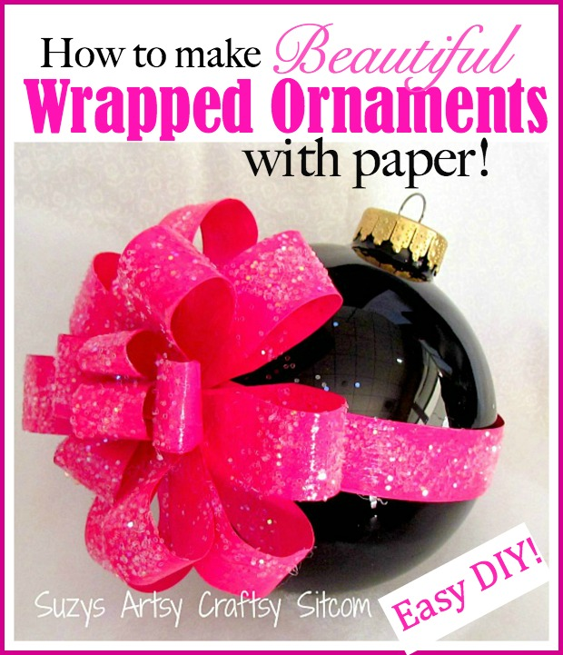 how to make beautiful paper wrapped ornaments. Easy DIY!
