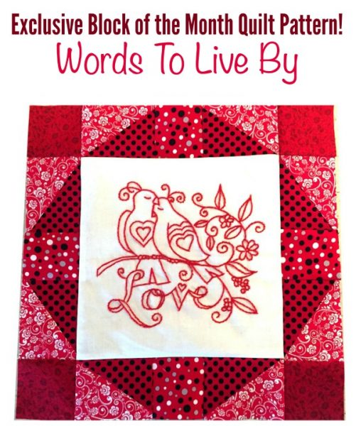 quilt pattern words to live by love birds10
