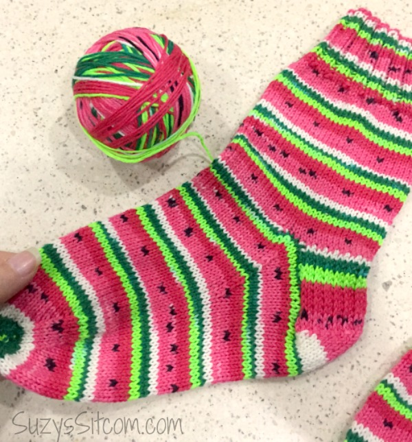 Basic Sock Knitting Pattern And Self Striping Yarn