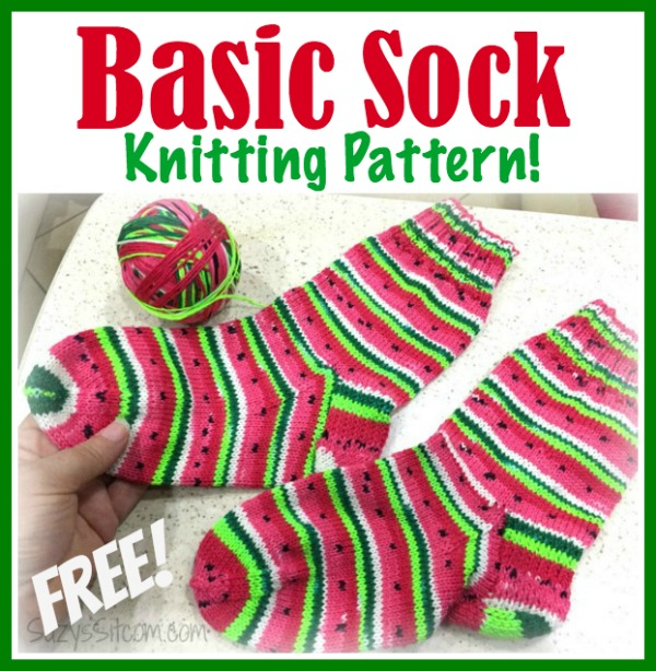 Knitting Socks Design 2017 : Basic sock knitting pattern and self striping yarn