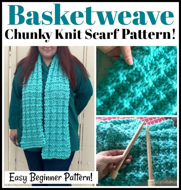 Basketweave Chunky Knit Scarf Free Pattern