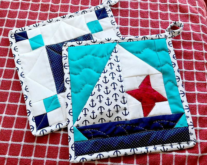 sailboats and stars hot pads pattern